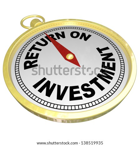 A gold compass with red needle pointing to words Return on Investment to illustrate ROI, investing in stocks, bonds, real estate or other money matters to grow wealth - stock photo