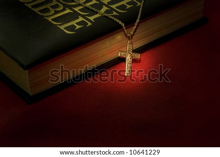 A gold cross necklace on a holy Bible - stock photo