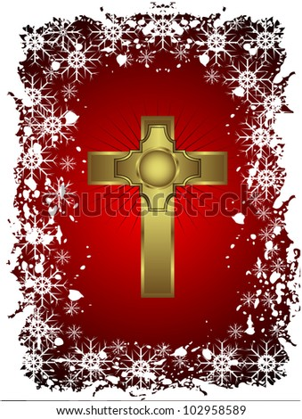 A gold cross on a christmas background with a snowy border - stock photo