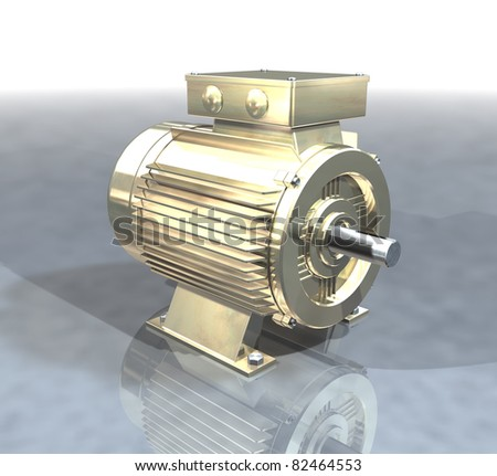 A gold electric motor on a reflective floor - stock photo