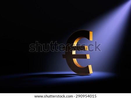 A gold Euro sign on a black background is dramatically lit from behind and above by a pale purple spotlight. - stock photo