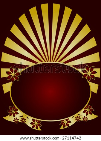 A gold floral design with a gold fan effect and room for text on a rich maroon background