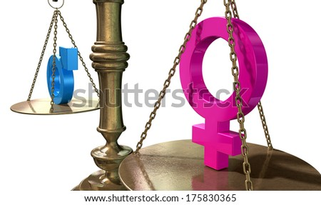A gold justice scale with the two different gender symbols on either side balancing each other out on an isolated white background  - stock photo