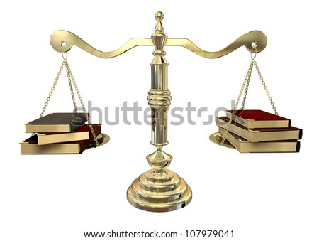 A gold justice scale with three books on either end balancing it out - stock photo