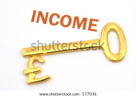 A gold key with a pound symbol on it next to the word income.
