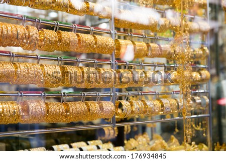 a gold market in middle east city - stock photo