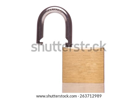 A gold padlock unlocked isolated white at the studio. - stock photo