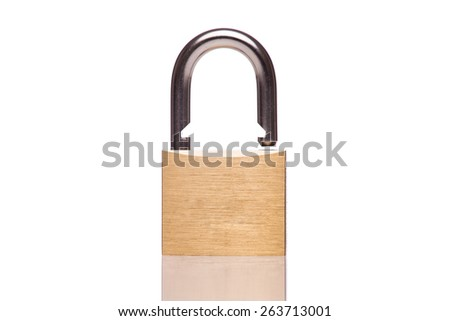 A gold padlock unlocked isolated white at the studio.