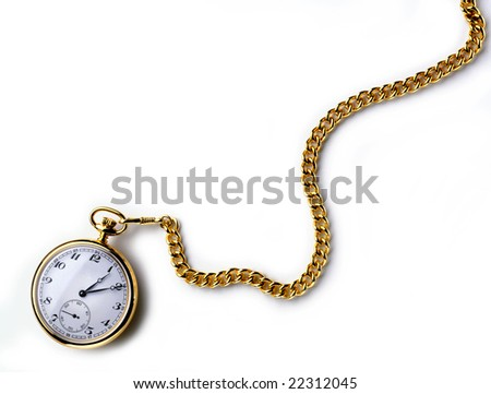 A gold pocket watch with chain on white - stock photo
