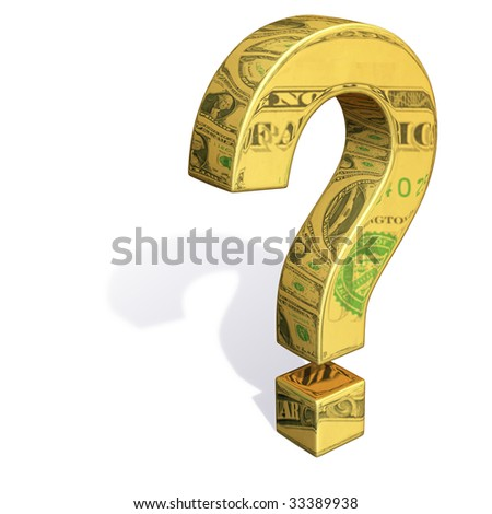 A gold question mark with images of dollar bills reflecting off it's surface. - stock photo