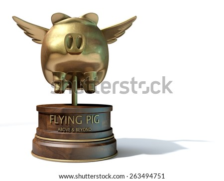 A gold trophy of a mythical flying pig on top of a wooden base and a description which reads above and beyond on an isolated white studio background - stock photo