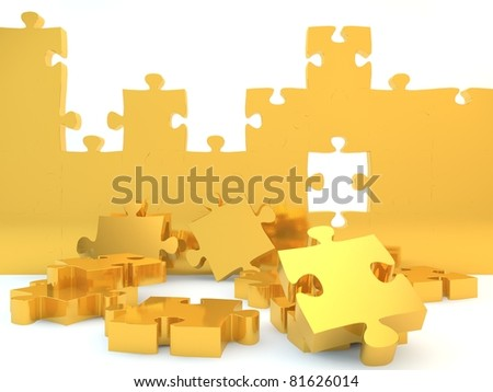 A gold wall against a white isolated background - stock photo