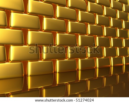 A gold wall is laid out from bullion - stock photo