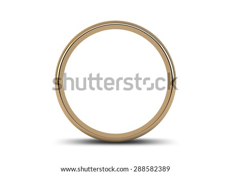 A gold wedding ring resting on an isolated white background - stock photo