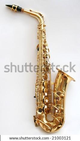 A golden alto saxophone. - stock photo