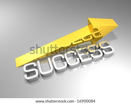 a golden arrow and the word success - stock photo