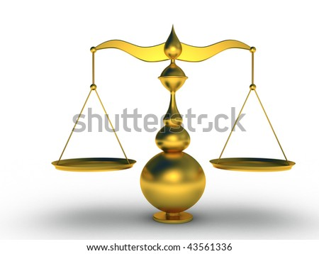 a golden balance on white background - stock photo