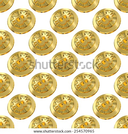 A golden bitcoin seamless pattern representing the virtual currency.  - stock photo