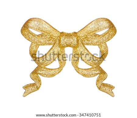A golden bow. A Christmas ornament isolated on a white - stock photo
