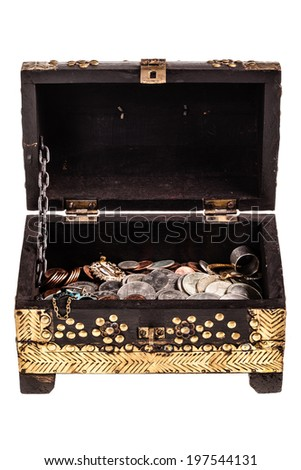a golden chest full of coins isolated over a white background - stock photo