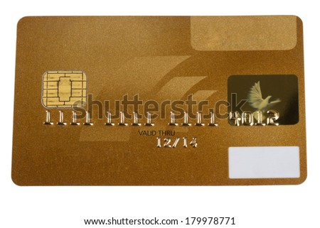 A golden Creditcard blanked for several usages. - stock photo
