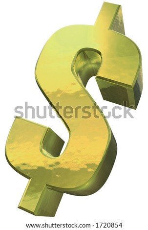 A golden Dollar symbol against a white background - stock photo