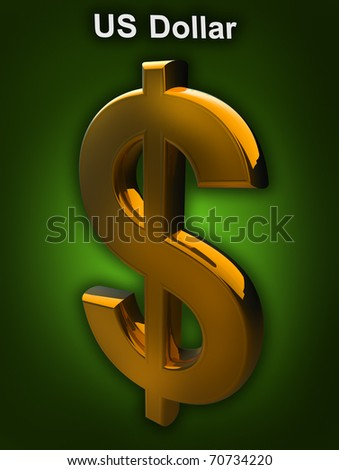 A golden Dollar symbol isolated on a green background (3D rendering) - stock photo