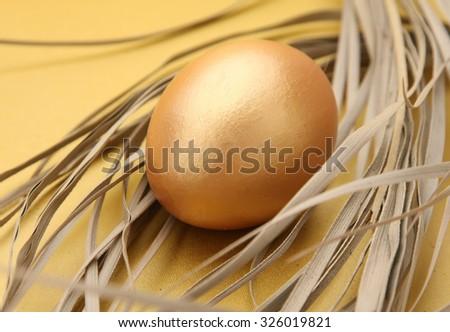 A golden egg - stock photo