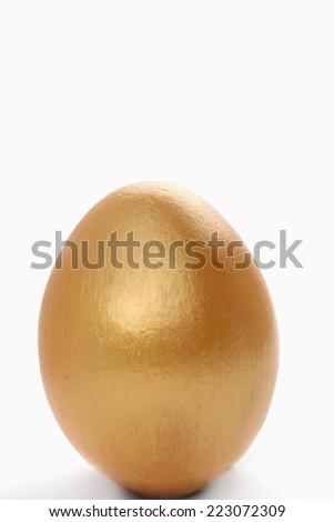 A golden egg on white - stock photo