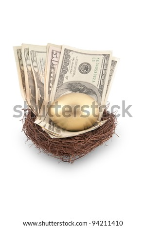 A golden egg sitting in a nest full of cash including a $100 and $50 bill - stock photo