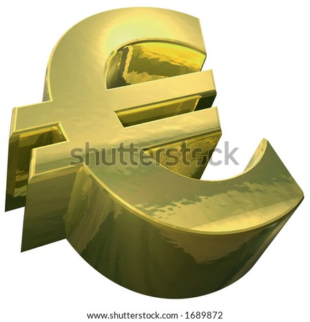 A golden Euro symbol against a white background - stock photo