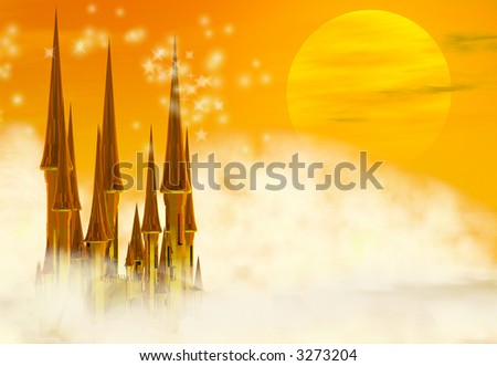 A golden fairy tale castle in the clouds - stock photo