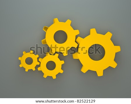 a golden gears - stock photo