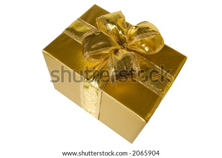 a golden gift with a big golden bow - stock photo