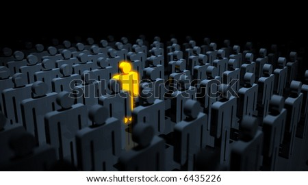 a golden glowing male pictogram amongst many black. slight DOF, focus is on the golden symbol. - stock photo