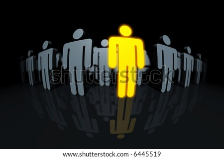 a golden glowing male pictogram in a row with some dark grey ones. slight DOF, focus is on the head of the golden pictogram. - stock photo