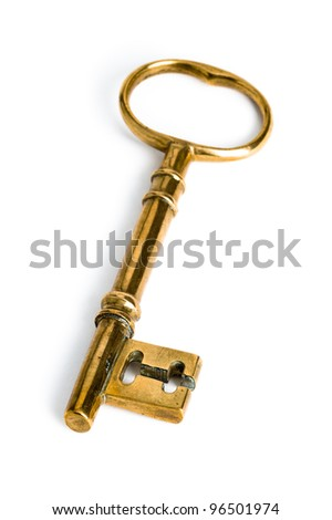a golden key on a white background
