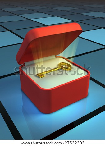 A golden key shining in a gift box. Digital illustration.