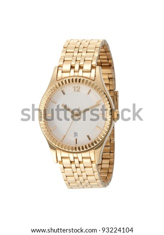 A golden lady wristwatch - stock photo
