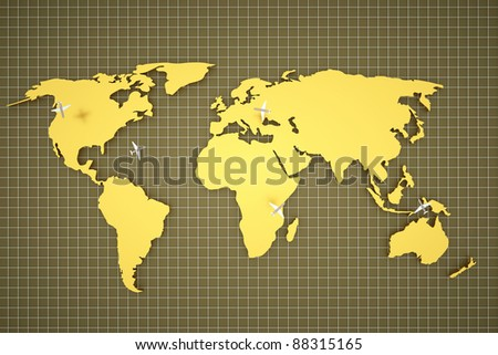 a golden map with planes as a traveling concept - stock photo