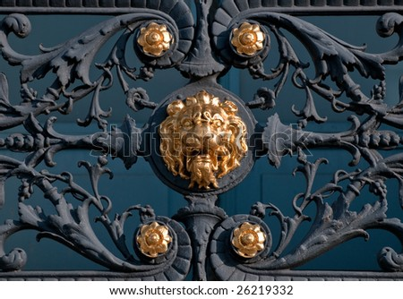 a golden ornament of a lion - stock photo