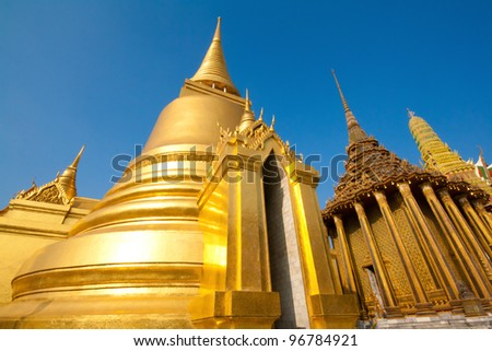 A golden pagoda, Grand Palace, Bangkok, Thailand - stock photo