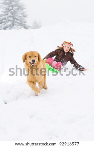 A golden retriever dog pulling a child on a sled down a snow covered hill. - stock photo