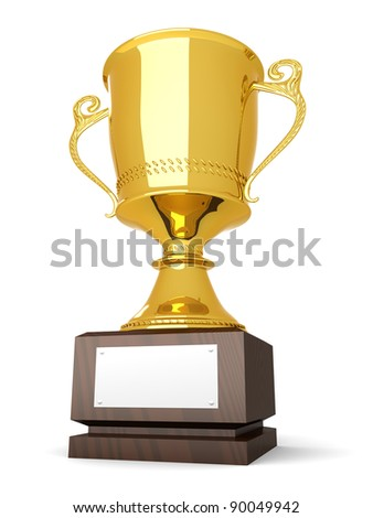 A golden trophy with a blank plate for custom text. 3D rendered Illustration. Isolated on white. - stock photo