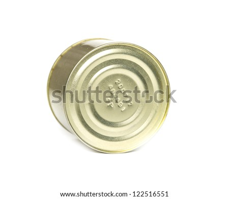 A golden tuna fish tin can isolated on white.