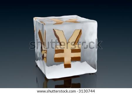 A golden Yen symbol frozen inside an ice cube (3D rendering) - stock photo