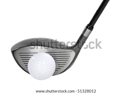 a golf ball and a golf club on a white background.