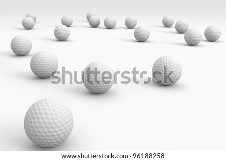 A golf ball background, balls going off into the distance - stock photo