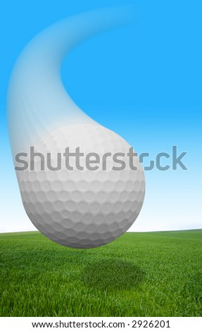 A golf ball flying over grass. - stock photo