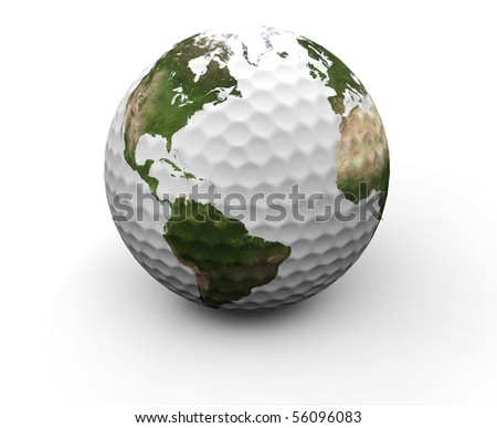 A golf ball with earth map showing America and Europe - stock photo